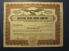 Old Vintage 1934 - KEYSTONE DIVIDE MINING CO. - Stock Certificate - NEVADA