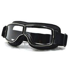 Leather Eyewear Goggles Scooter Aviator Pilot Glasses Riding Biker Motorcycle