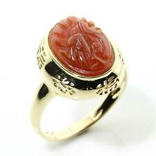 Fine Chinese Style Hallmarked 14ct Gold Red Jade Ring Size S/9 Gift Boxed 16NHIS