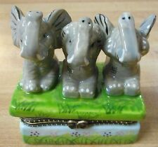 3 ELEPHANT SEE NO EVIL TRINKET BOX~doing monkey things porcelain