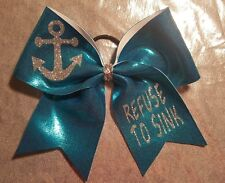 "Refuse to Sink Anchor Blue Cheer Bow 3"" Ribbon Cheerleading Hair Bow"