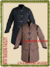 Medieval thick padded BLACK & BROWN Gambeson play theater custom armor