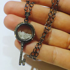 Couture.chics Gemstone Shaker Key Pendant Sterling Silver Diamond Pave Jewelry