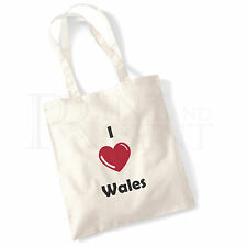 'I love (Heart) Wales' Cotton Canvas Reusable Shopping Tote Bag
