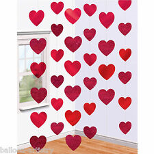 6 Valentine's Day Red Foil Glitter Hearts Party Hanging String Decorations