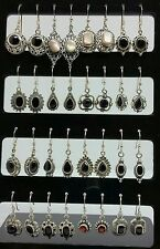 LOT OF 16 PAIRS EARRINGS 925 STERLING SILVER WHOLESALE JEWELRY MIX OF GEMSTONES