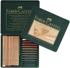 Faber-Castell PITT Studio Set Tin of 25 12 Charcoal Pencil 13 Pastel Crayon