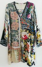 JOHNNY WAS Printed Silk Satin Womens Button Down Long Blouse Top Tunic, $298, M