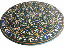 "30"" Black Marble Corner Coffee Table Top Mosaic Inlay Marquetry Home Decor H1656"