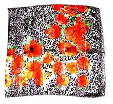 SCARF Large Square Flowers Brown Spots on White ORANGE FLORAL PRINT