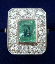 Superb platinum art deco 1.50ct Emerald and Diamond cluster ring