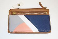 NEW FOSSIL MOLLY PATCH BROWN+BLUE+WHITE+ORANGE+GREEN LEATHER,WALLET,CLUTCH