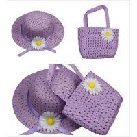 Fashion Sun Hat Kid Children Hats Flower Straw Cap Tote Handbag Bag Suit 9Color