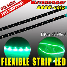 2 x VIVID GREEN 2835SMD Car Motor LED Flexible Light Strip Bars Waterproof 120cm