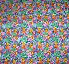 RARE EASTER EGG QUALITY QUILT COTTON FABRIC*YELLOW ORANGE BLUE GREEN PURPLE 1 yd
