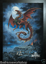BLACK FRAMED ALCHEMY WHYTBY WYRM DRAGON - 3D MOVING PICTURE 300mm x 400mm