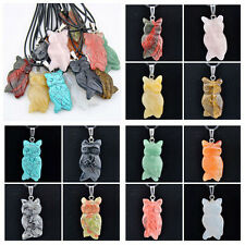 lots 12pcs hand carved natural stone owl pendant XL393