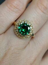 size 7.25 yellow gold diamond and natural green zircon ring