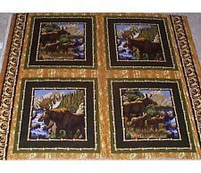 4 Moose Wild Frontier Pillow Panels Fabric 100% cotton