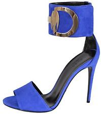 NEW Gucci 388366 Blue Suede Rooney Ankle Cuff Horsebit Sandals Shoes 37.5 7.5