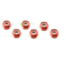 6 X RED RC 4mm Aluminium Locking Wheel Nuts 1/10 1/16 Tamiya Ansmann HPI Traxxas
