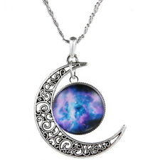 New Women Crescent Moon Galactic Universe Necklace Nebula Star Wicca Pendant