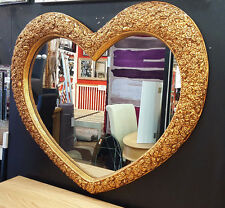 "Large Heart Shape Wall Mirror Ornate French Engrved Roses 110X90cm 43""x35"" Gold"