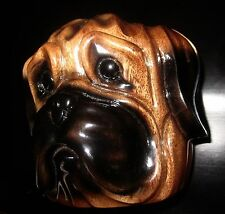 TIMMY WOODS BULLDOG BULL PUG DOG MINAUDIERE SHOULDER CLUTCH HAND CARVED