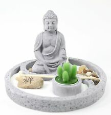 Tabletop Zen Garden Buddha Rock Rake Sand Cactus Candle Holder Home Decor Gift
