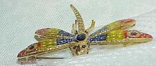 18K Plique a Jour Enamel Dragonfly Colorful .65Ct Diamond Sapphire Ruby Brooch