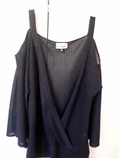 BIG  CITY CHIC   Black  X-OVER FRONT  Peep Shoulder  TOP   * SMALL Plus Size