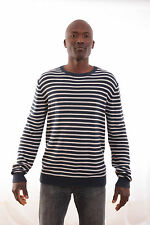 H&M VINTAGE 80s MARINE STRIPED CASUALS TOP JUMPER COTTON KNITTED L GOOD!!