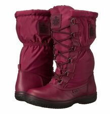 COACH SAGE NYLON A9177 BLACK CHERRY RED LACE-UP COLD WEATHER WINTER BOOTS WOMEN