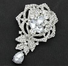 "LARGE 3.75"" SILVER TONE CLEAR ROSE DIAMANTE/RHINESTONE CRYSTAL TEAR DROP BROOCH"