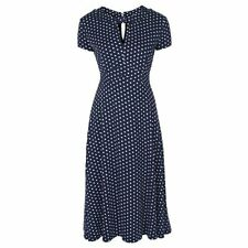 NEW VINTAGE 50'S STYLE JULIET NAVY ROCKABILLY PARTY TEA DRESS SIZE 10