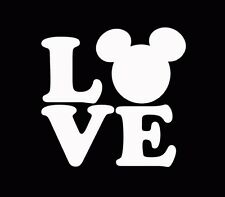 Love Mickey Mouse Decal Vinyl Sticker Car Window Truck White