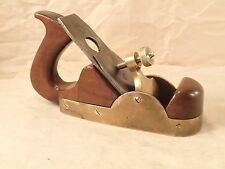 Vintage English Brass & Mahogany Infill Smooth Plane, ROBT. SORBY Cutter Set