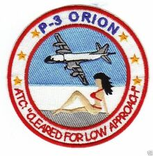 US NAVY P-3 ORION PATCH, CLEARED LOW APPROACH, GIRL IN RED BIKINI ON BEACH     Y