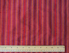"Red/Orange/Purple Dupioni Stripes 100% Silk Fabric 54"" Wide By The Yard (SD-634)"
