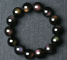 10 mm Women Natural Rainbow Black Obsidian Gemstone Round Beads Bracelet