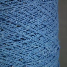 SILK NOIL YARN - CORNFLOWER BLUE - 500g CONE - 3 PLY KNIT WEAVE CROCHET RUSTIC