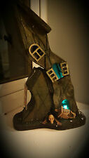Crooked Haunted House Feature Display Setting Halloween Light Up Decoration Fire