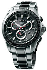 New Seiko Astron Solar GPS Dual-Time Titanium Men's Watch SSE041