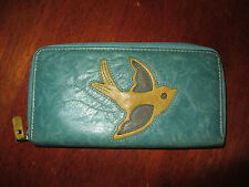 Fossil Teal Green Leather Bird Zip Wallet