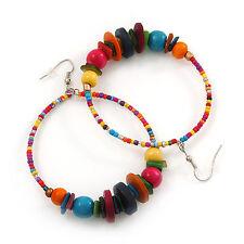 Large Multicoloured Glass & Wood Bead Hoop Earrings In Silver Plating - 8.5c
