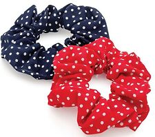 2 PACK RED & NAVY BLUE POLKA DOT SPOT HAIR SET SCRUNCHIE PONYTAIL BAND ELASTIC