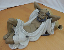 Chinese Happy Man Lying with Gourd of Wine Lucky Magic Pottery Chopstick Holder