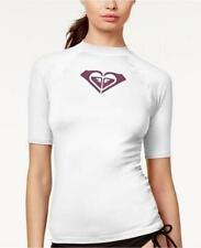 NWT Roxy White Whole Hearted Short Sleeve Rash Guard Swimsuit Cover Up M mr22