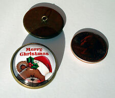 "Merry Christmas Bear 1"" Glass Dome Button collectible antique finish shank sew"