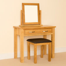 Newlyn Oak Dressing Table Set / Hand Crafted Modern Oak Table + Mirror & Stool